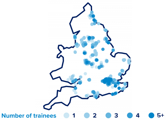 Map of where Teach First trainees are placed