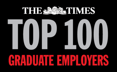 Times top 100 Graduate employers logo.