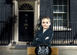 Young girl standing outside 10 Downing Street