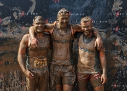 Three runners who just completed the Wolf Run for Teach First