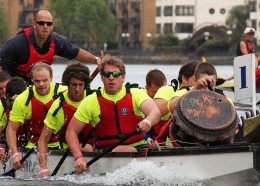 A team of rowers take part in the Row the River race