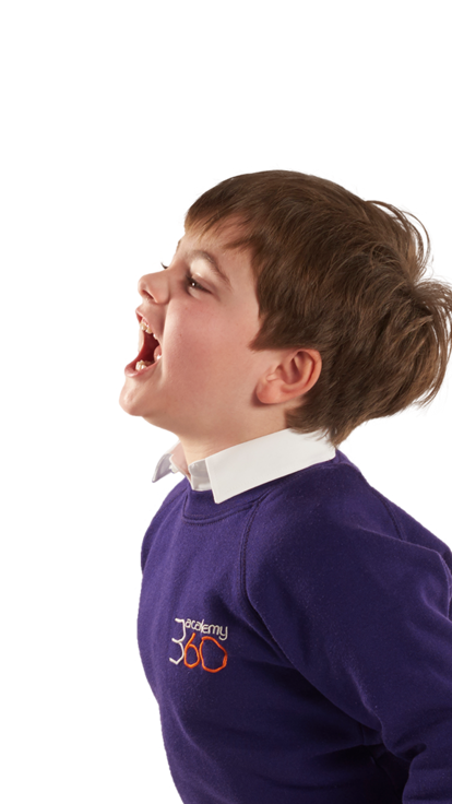 A primary pupil facing to the left and laughing.