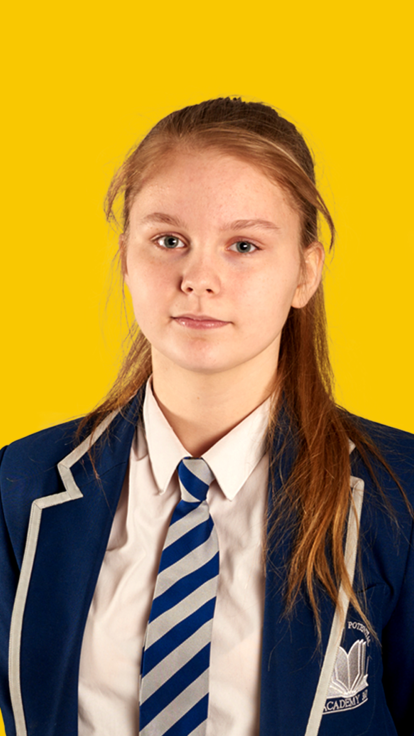 female student on yellow background