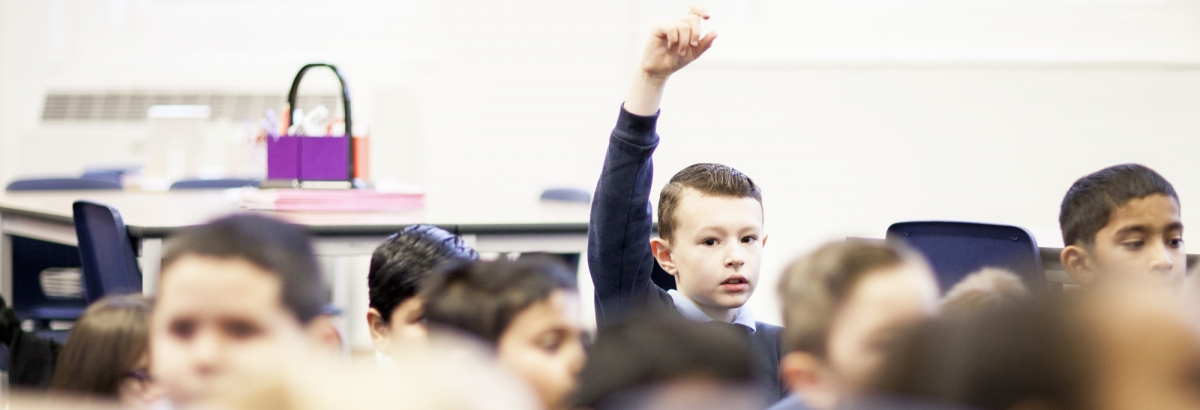 Pupil raising his hand in a classroom taught by a Teach First teacher