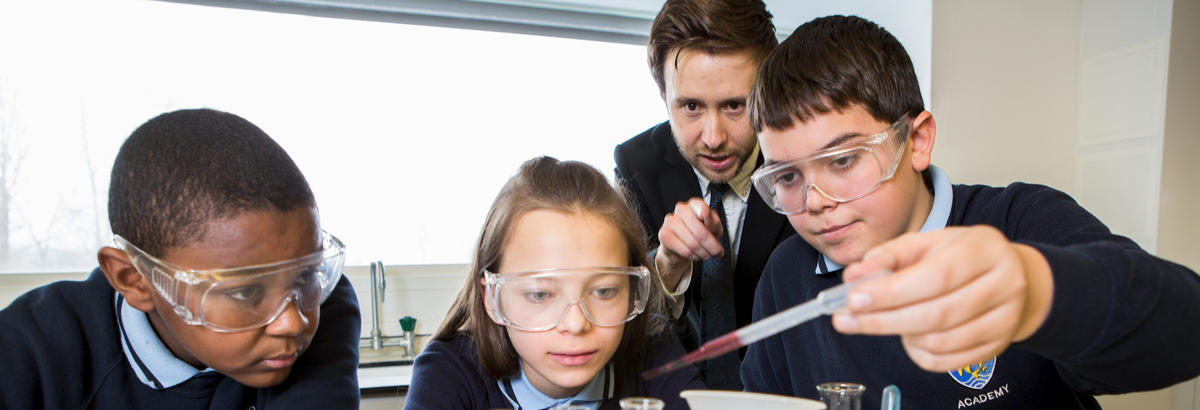 Pupils participate in a science experiment