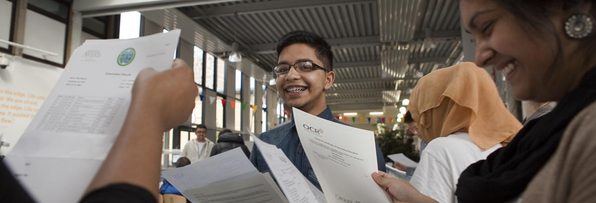 Pupils opening their A-Level results