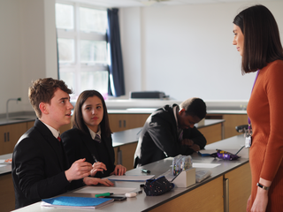 Science teacher Lizzie Pocklington in class with students