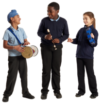 Three pupils playing with musical instruments.