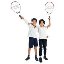 Two pupils holding tennis racquets.