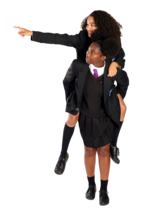 A pupil gives their friend a piggyback ride while their friend points something out to them.